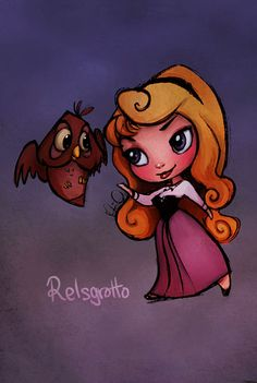 Sleeping Beauty: Aurora Chibi Colored by relsgrotto.deviantart.com on @deviantART