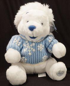 White Winnie the Pooh Plush Blue Sweater Hat Snowflakes Disney Store Excl Tags #winniethepooh #snowflakes #plushpooh