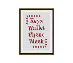 Keys Wallet Phone Mask Cross stitch pattern PDF instant | Etsy Cross Stitch Quotes, Cross Stitch Kits, Cross Stitch Embroidery, Embroidery Patterns, Stitch Doll, Funny Cross Stitch Patterns, Key Wallet, Cross Stitch Finishing, Sell On Etsy