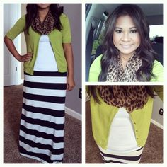 Lime green, stripes and leopard  Modest style Follow more of my looks on Instagram @pspencer9215