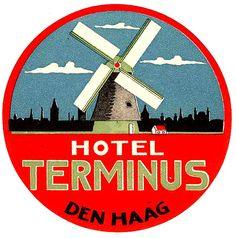 NETHERLANDS Olanda - Den Haag - Hotel Terminus   by Luggage Labels by b-effe
