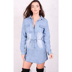 LILY LULU FASHION Long Sleeved Belted Button Front Demin Shirt Dress ($25) ❤ liked on Polyvore featuring dresses, blue, t-shirt dresses, long sleeve shirt dress, lily dress, belted shirt dress and shirt dress