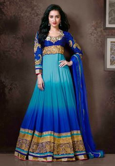 USD Shraddha Kapoor Blue Embroidered Long Anarkali Suit Love the ombre effect Floor Length Anarkali, Long Anarkali, Anarkali Dress, Anarkali Suits, Pakistani Dresses, Indian Sarees, Indian Dresses, Lehenga Choli, Punjabi Suits