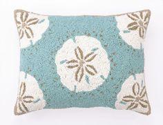 Seashore Blues Oblong Sand Dollar Wool Hooked Pillow