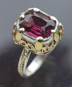ARTIFICERS' GUILD, Ring silver gold alamandine garnet - Arts & Crafts Jewelry