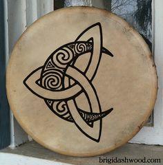 Hand-painted playable Bodhran Drum - Celtic Moon by Brigid Ashwood http://www.brigidashwood.com/painted-drums/