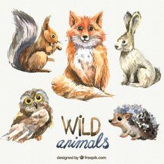 animais selvagens Watercolor Vetor grátis