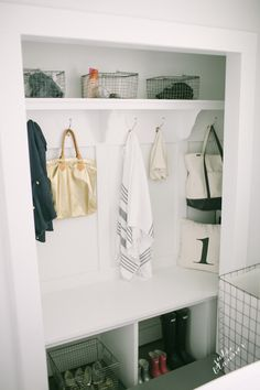 A Practical Mudroom. Learn how to design and what to include to make your mudroom a practical one for you and your busy family. Entry Closet, Room Closet, Hall Closet, Closet Space, Converted Closet, Closet Remodel, Decoration Inspiration, Closet Storage, Storage Room