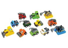 Construction Vehicles - Set of 12 - Cars, Trains & Cranes