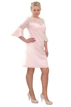9d901f084f Elegancka sukienka XXL 40-60 na wesele PAOLA pudrowy róż - XELKA odzież  damska online