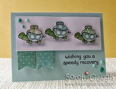 Here's a CAS card using Lawn Fawn's On The Mend - perfect for someone recovering from surgery! Speedy Recovery Sarah Gough www.thinkingstamps.com
