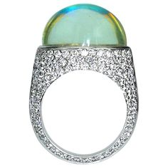 Samuel Getz Very Fine and Unique Rainbow Moonstone Pavé Diamond Ring | From a unique collection of vintage cocktail rings at https://www.1stdibs.com/jewelry/rings/cocktail-rings/