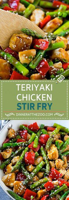 Teriyaki Chicken Stir Fry - Dinner at the Zoo Healthy Chicken Recipes, Turkey Recipes, Asian Recipes, Recipe Chicken, Cooking Recipes, Chicken Stirfry Recipes, Chinese Recipes, Ww Recipes, Cooking Ideas