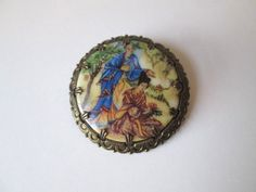 Vtg 1960s Asian Glass Cameo Pin Brooch