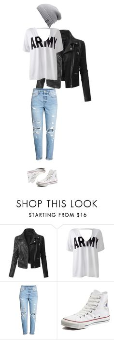 """***"" by t0ri14 on Polyvore featuring LE3NO, Sans Souci, Converse and The North Face"