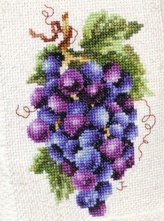 Embroidery: Cross Stitch Grapevine Kitchen Towels...This would look beautiful done in glass or crystal beads as a framed piece