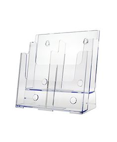Marketing Holders Three Tiered Literature Holder Premium Acrylic Multi Pocket Display Stand Clear 2 Tier Lot of 1 Wall File, Brochure Holders, Acrylic Display, Marketing, Literature, Amazon, Best Deals, Business, Literatura