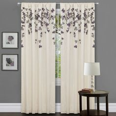 @Overstock.com - Ivory/ Purple Faux Silk 84-inch Flower Drop Curtain Panel - This faux silk curtain panel features rod pockets on the bottom and top, allowing you to hang them from either end. Have the delicate gray and purple flowers at the top for a simple look or pooled at the bottom for a more dramatic look for your window.  http://www.overstock.com/Home-Garden/Ivory-Purple-Faux-Silk-84-inch-Flower-Drop-Curtain-Panel/7194861/product.html?CID=214117 $26.99