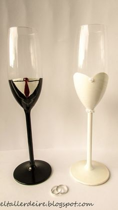 Otros - Pack de copas de boda pintadas a mano - hecho a mano por ElTallerdeIre en DaWanda: