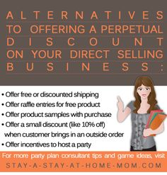 http://www.stay-a-stay-at-home-mom.com/direct-sales-distributor.html Be careful when offering product discounts to your direct sales customers.