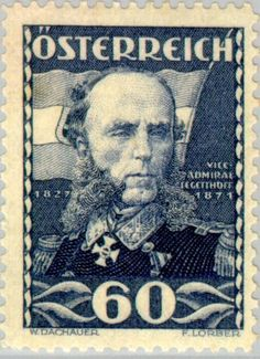 Stamp: Tegetthoff (1827-71) vice-admiral, by Georg Decker (Austria) (Military leaders) Mi:AT 621,Yt:AT 475,ANK:AT 621