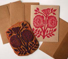 Hand Blocked Printed Card - Katharine Watson, via Etsy.