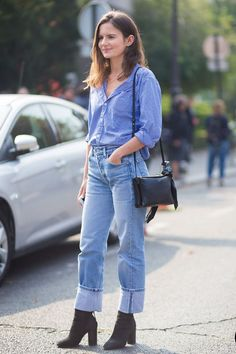 classic wardrobe outfit straight leg jeans