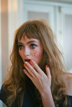 Doll make up backstage at Vivienne Westwood Gold Label SS15 PFW. More images here: http://www.dazeddigital.com/fashion/article/21971/1/vivienne-westwood-ss15