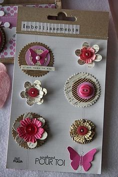 LES DIES A LHONNEUR 2019 cute layered embellies. corregated paper buttons flowers butterflies embellishments to cut and save for scrapbooking later The post LES DIES A LHONNEUR 2019 appeared first on Scrapbook Diy. Candy Cards, Scrapbook Embellishments, Button Crafts, Handmade Flowers, Scrapbook Cards, Scrapbook Layouts, Homemade Cards, Envelopes, Paper Flowers