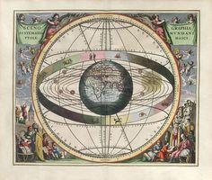 Cellarius Harmonia Macrocosmica, plate 2. CENOGRAPHIA SYSTEMATIS MVNDANI PTOLEMAICI - Scenography of the Ptolemaic cosmography. 1660.