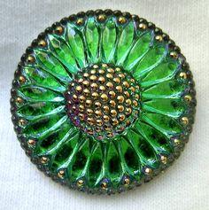Emerald Green Glass Button