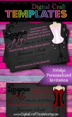 Personalized Printable Invitations   Bachelorette Lingerie Party   Bride's Night   Bridal Party    #148