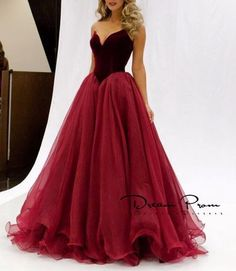 #prom #promdress Sweetheart A-line Red Stain+tulle Long Prom Dress,Evening…