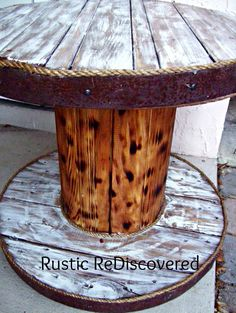 Rustic ReDiscovered: Cable Spool and Barrel Table Large Wooden Spools, Wooden Cable Spools, Wire Spool, Diy Cable Spool Table, Wood Spool Tables, Wood Table, Dining Table, Spool Crafts, Pallet Crafts