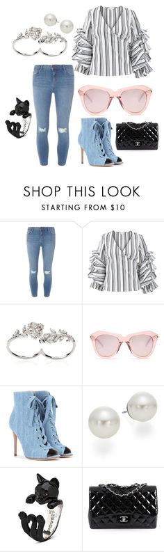 """""""Classy Cat"""" by waverlyc-1 ❤ liked on Polyvore featuring Dorothy Perkins, Caroline Constas, Apples & Figs, Karen Walker, Gianvito Rossi, AK Anne Klein and Chanel"""