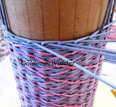 Плетение из газетных трубочек: Ситцевое плетение с перетяжкой.
