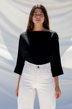 7b4b95081bd609 Ozma Olivia Top in Black Silk Linen - FINAL SALE!