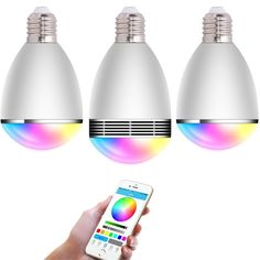 MAIFOM BL06G E27 6W LED Bulbs Group 3-pack Socket Bluetooth Smartphone Controlled Multi Color Dimmable Smart LED Light Bulb with Audio Music Speaker. 1.Advanced bluetooth technology---- Multi-colored flash LED bulbs Bluetooth speaker is incredibly powerful with Bluetooth 4.0 Technology that offers you instantaneous connection and longer Bluetooth connectivity range more than 10 meters. 2. Multi-functions Smart LED Blubs ----- This smart LED light bulb can play music, match the lights to…
