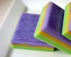 Mardi Gras Soap - Purple Green and Gold Yellow Soap - Square Soap - Festive Soap - Fun Soap - Fat Tuesday Soap - Hoooked Soap  by HoookedSoap, $4.50