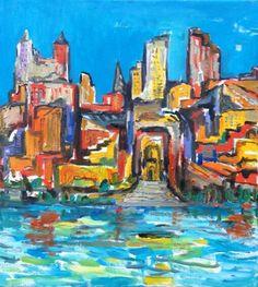 "David Sandum @David Sandum 5 Sep Just ready: ""My Imaginary City"" (series). Oil on canvas 54x62cm. *slight changes from earlier post* #paintseptember"