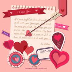 Love note with valentine day elements Free Vector