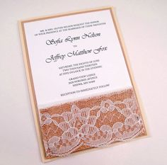 Burlap Lace Rustic Wedding Invitation Invite Shabby by BellaPapel, $6.50