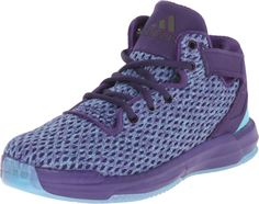 adidas Performance D Rose 6 C Shoe (Little Kid),Dark Purple/Blast Purple/Blue,12 M US Little Kid. Materials mix upper with mesh for comfort, breathability and premium feel. Crossover elastic collar strap; Ankle loop for easy on and off. Integrated EVA midsole cage for stability and support. Mid-cut construction. Oversize D-Rose logo; Non-marking rubber outsole.