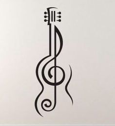 Music tattoo treble cleff - Music tattoo treble cleff You are in the right place about cat tattoo Here we of - Music Drawings, Art Drawings Sketches Simple, Pencil Art Drawings, Easy Drawings, Drawing Designs, Guitar Tattoo, Guitar Art, Guitar Drawing, Drawing Drawing