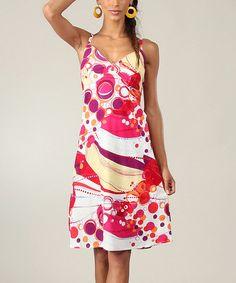Pink & Yellow Circles Sleeveless Dress #zulilyfinds