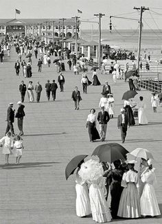The Jersey Shore 1905 ~ Boardwalk at Asbury Park, New Jersey Vintage Pictures, Old Pictures, Old Photos, Asbury Park, Interesting History, Vintage Photographs, Belle Photo, New Jersey, Jersey Girl