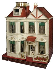 Large German Wooden Dollhouse with Widow's Walk Attributed to Christian Hacker 6000/8500