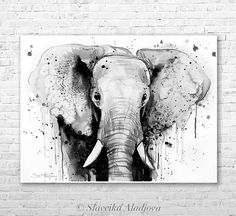 Black & White Elephant Head watercolor painting print by Slaveika Aladjova, art, animal, illustration, home decor, Nursery, gift, Wildlife • Printed especially for you! • Directly form the artist. • Signet from the artist. • This is a print of my original painting. • Frame is not included. • Carefully packed and shipped in a hard tube. • Printed on museum quality watercolor paper. • Epson Pigment Inks, which are tested and guaranteed not to fade for at least 100 years. Original painting...