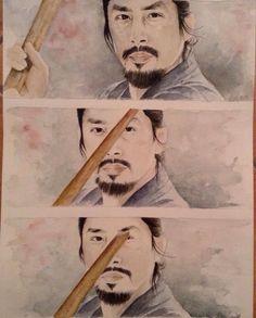 Kendō training part two .. of three or maybe four ! #watercolor #HiroyukiSanda #lastSamurai #TomCruise #KenWatanabe