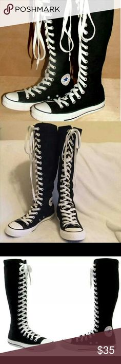*Sexy Black Knee High Converse* Sooo cute!! Perfect with shorts, mini skirts or mini dresses!! Definitely a conversation piece!! Will fit a women's size 6!! Get them today! Sure to go fast! :0) No holds or trades! Thanks for looking!! Converse Shoes Sneakers